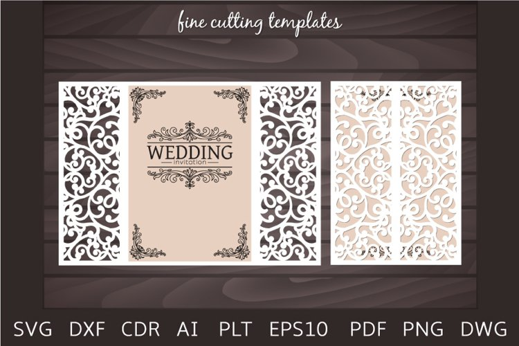 Wedding Invitation 5x7 Gate card cutting template SVG, Laser example image 1