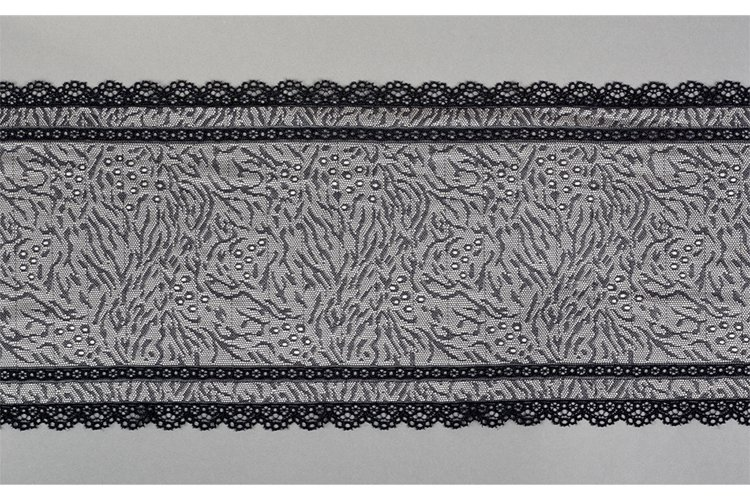 black gray beige straight strip of lace fabric. Texture for example image 1