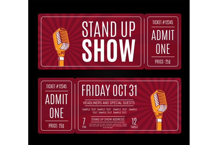 Vector stand up show tickets with retro microphone on sunbur example image 1