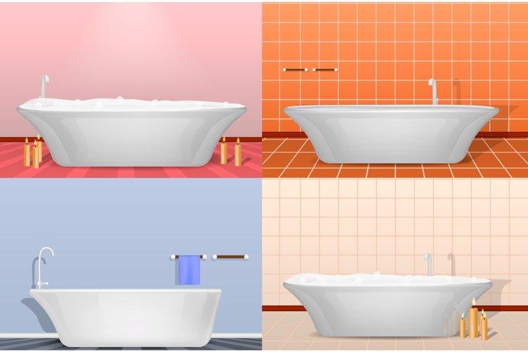 Bathtub interior mockup set, realistic style example image 1