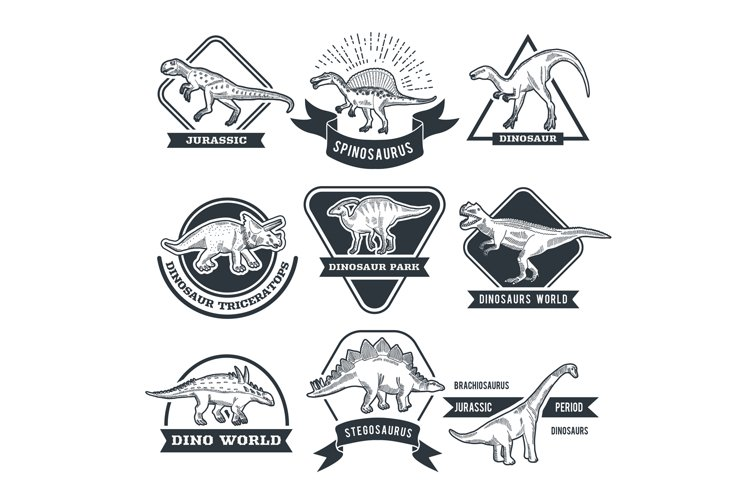 Monochrome grunge labels set with different dinosaurs example image 1