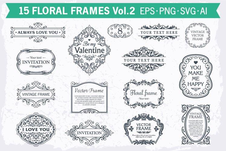 Floral frames decorative backgrounds set #2, 15 elements