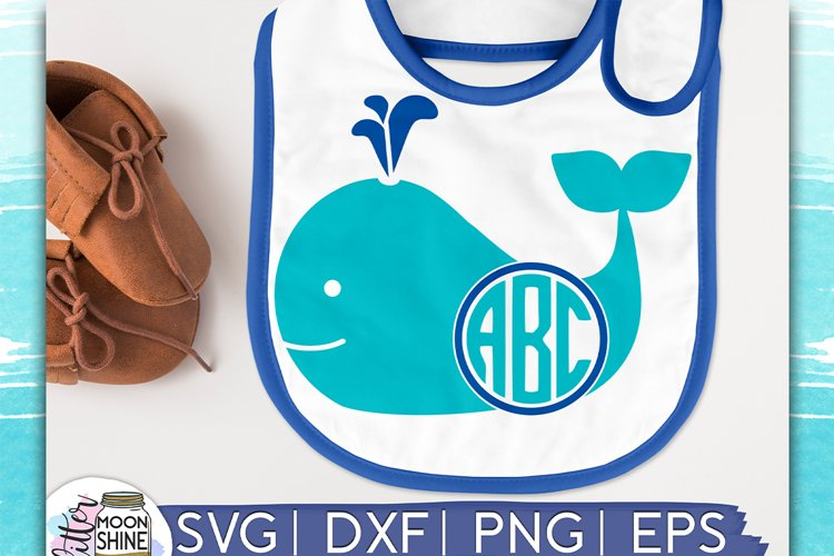 Whale Monogram Frame SVG DXF PNG EPS Cutting Files