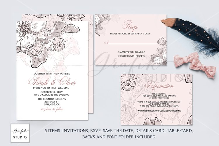 Blush Pink Floral Wedding Invitation Template example image 1