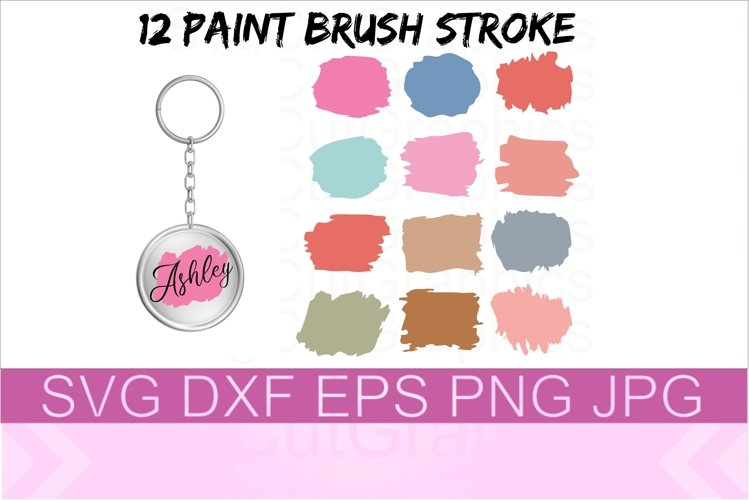 Paint Brush Stroke SVG PNG DXF example image 1