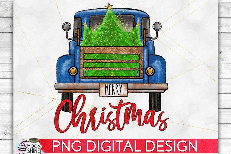 Merry Christmas Blue Tree Truck PNG Sublimation Design