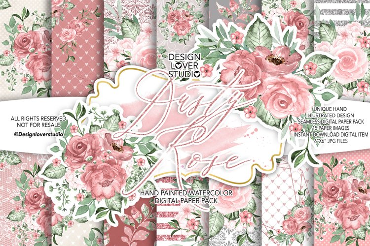 Dusty Rose digital paper pack example image 1