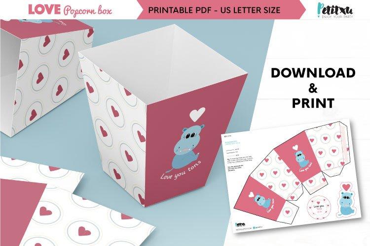 Valentines printable popcorn box, love DIY party decorations example image 1