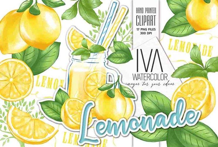 Lemon digital paper, Lemonade cocktail example image 1