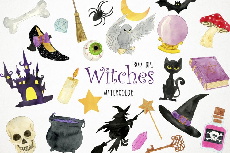 Watercolor Witches Clipart, Witches Clip Art, Witches PNG example image 1