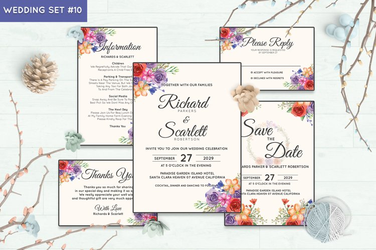 Wedding Invitation Set #10 Watercolor Floral Flower Style