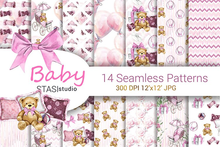 Baby Girl Paper Pack, New Baby Watercolor Seamless pattern example image 1