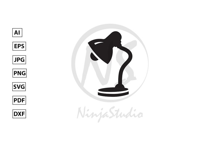 Table Lamp Icon In Flat Style Vector example image 1