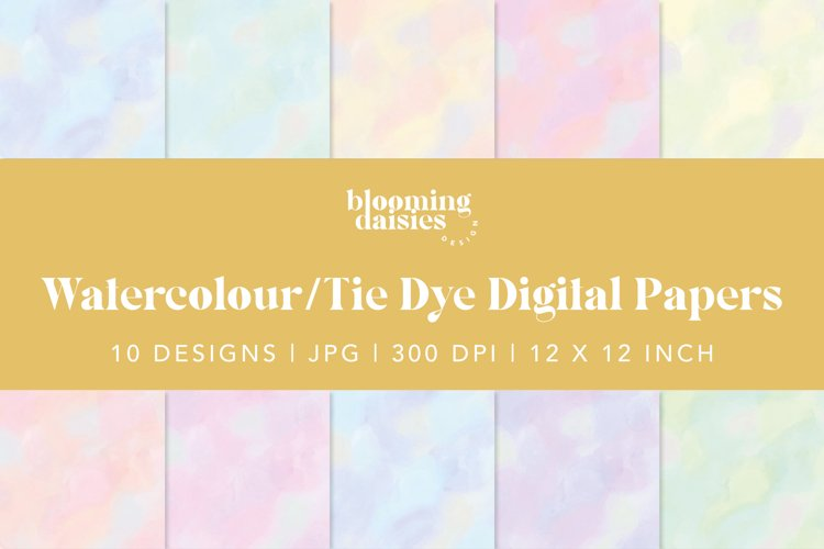 Pastel watercolor digital paper, tie dye paper bundle