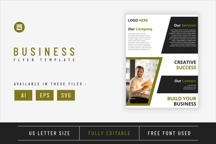 Business flyer template with lime geometry shapes design example image 1