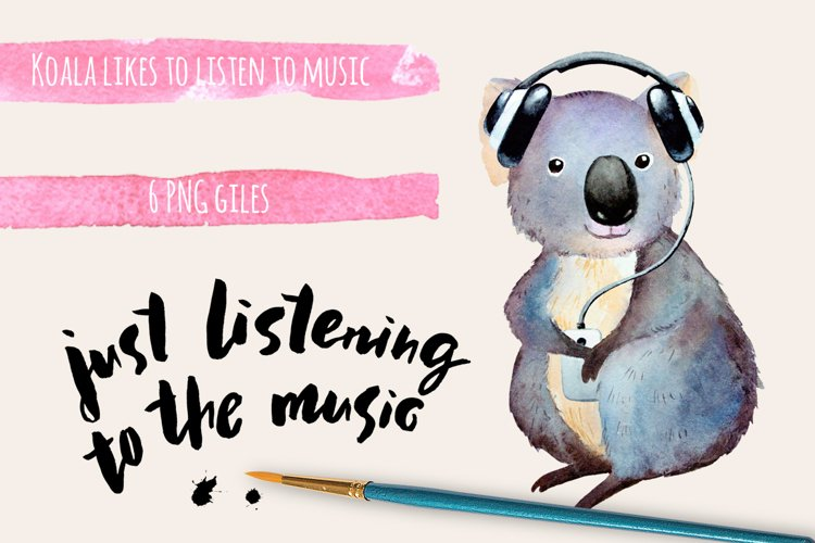 Watercolor koala clipart example image 1