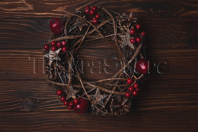 Christmas wreath with red apples and berries example image 1