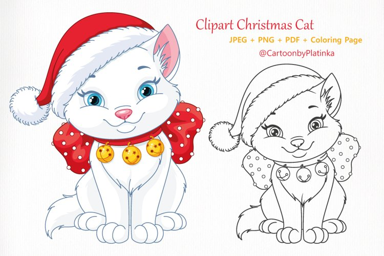 Christmas cat with Santa hat and Coloring page