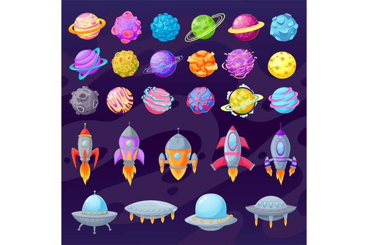 Cartoon planets and spaceships. Alien cartoon ufo and spaces example image 1