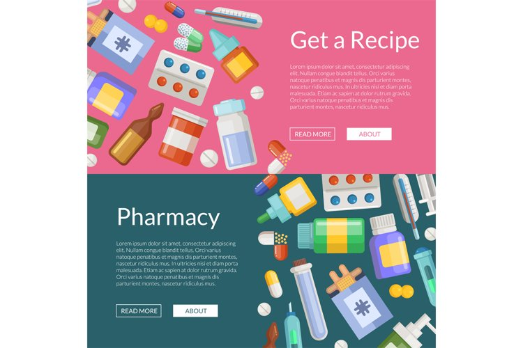 Vector cartoon pharmacy or medicines horizontal banner templ example image 1