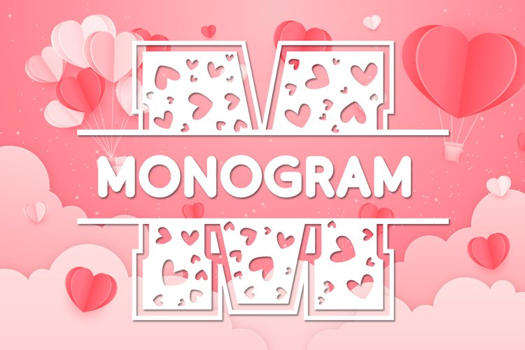 Hearts Split Monogram Font example image 1