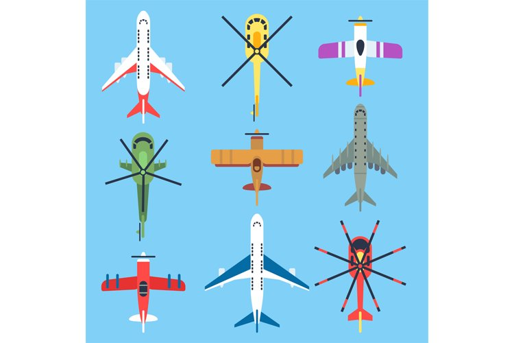 Airplane, plane, helicopter, jet top view flat vector icons example image 1