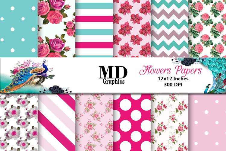 Flowers Papers, Flowers Patterned, Digital Scrapbook Papers example image 1