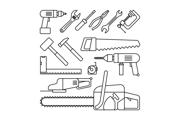 Tools thin line icons example image 1