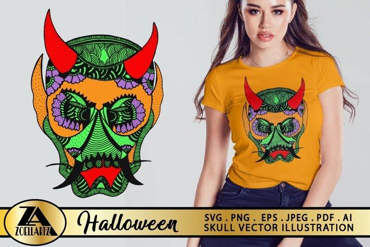 Halloween SVG Skull Devil Hand Drawn Vector Illustration example image 1