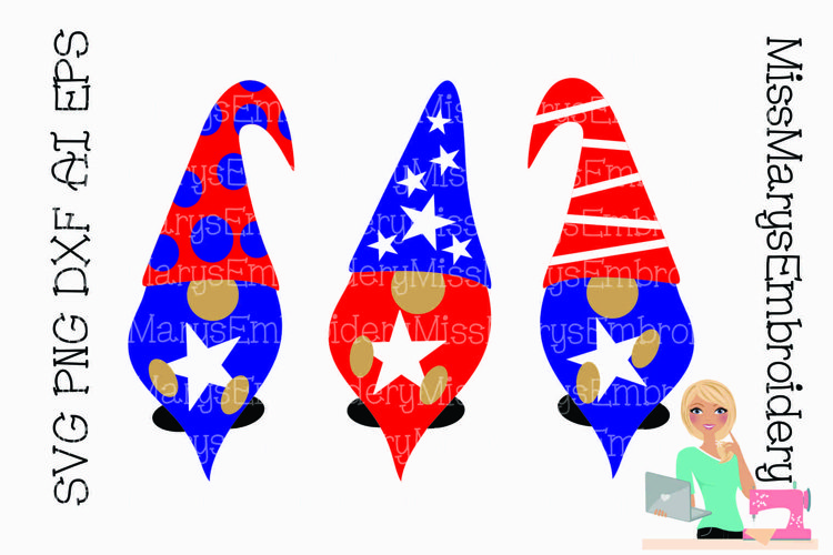 Patriotic Gnomes SVG Cutting File PNG DXF AI EPS example image 1