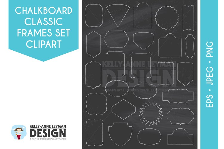 Chalkboard Digital Frame Clipart, Digital Label clipart set example image 1