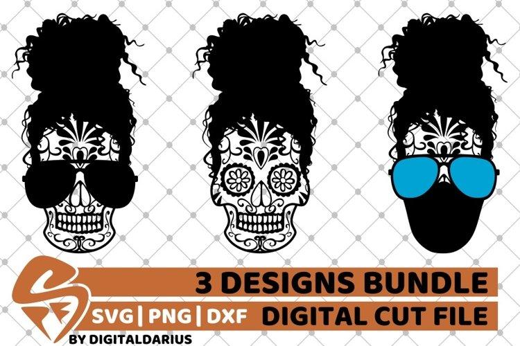 Messy Bun Designs Bundle svg, Curly Hair, Sugar Skull, Mask example image 1
