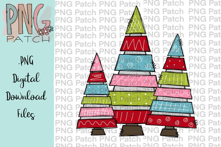 Colorful Tiered Christmas Trees, Christmas PNG File example image 1