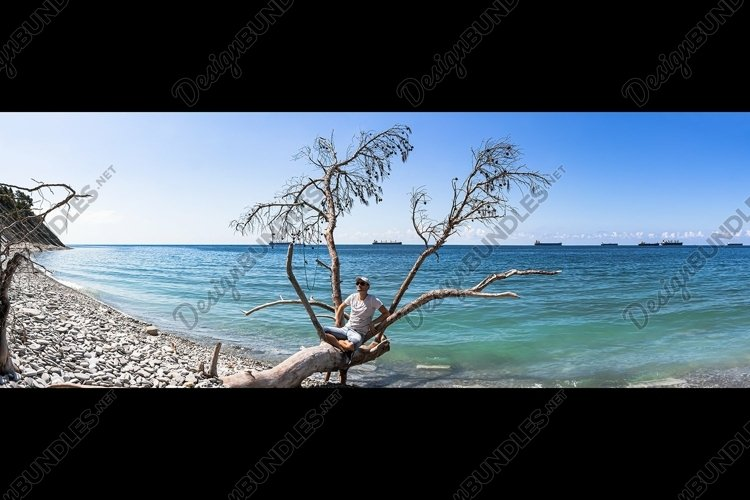 Picturesque summer panoramas on the stone beach. 2 pcs example image 1