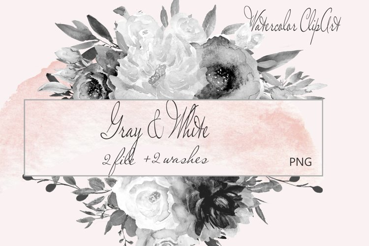 Watercolor Gray Floral Clipart example image 1