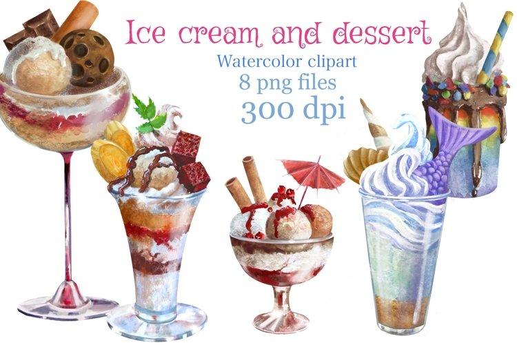 Ice cream and dessert watercolor clipart,dessert menu