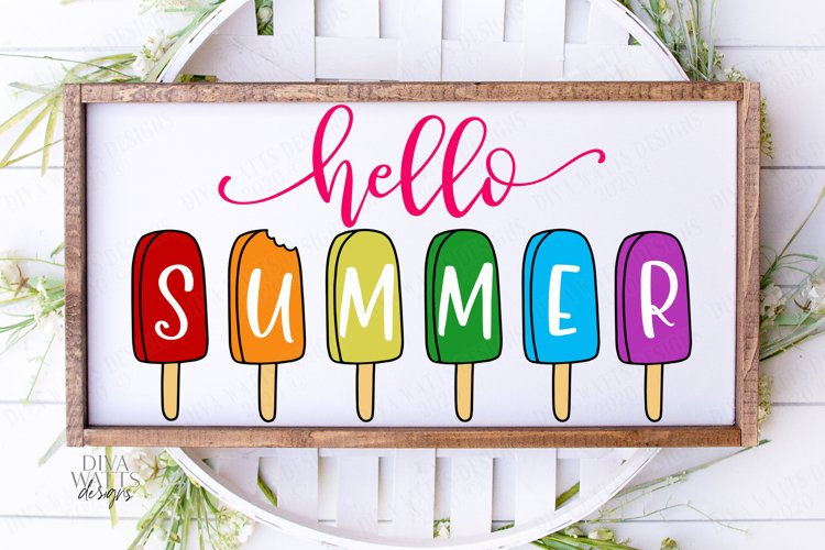 Hello Summer - Popsicles - Popsicle - Sign Shirt Tote SVG example image 1