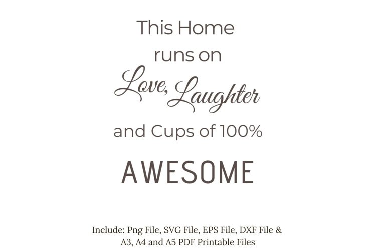 This Home runs on Love, Laughter and...SVG, PNG, PDF Print