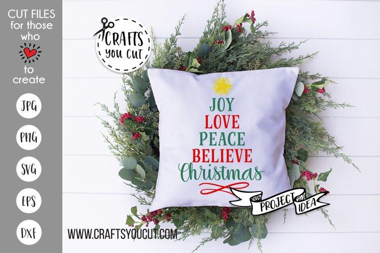 Joy Love Peace Believe Christmas 2 Cut File example image 1