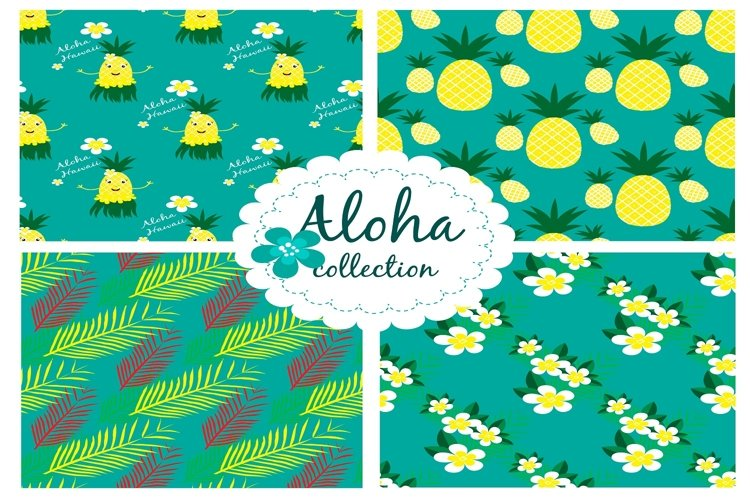 Collection with hawaiian seamless pattern