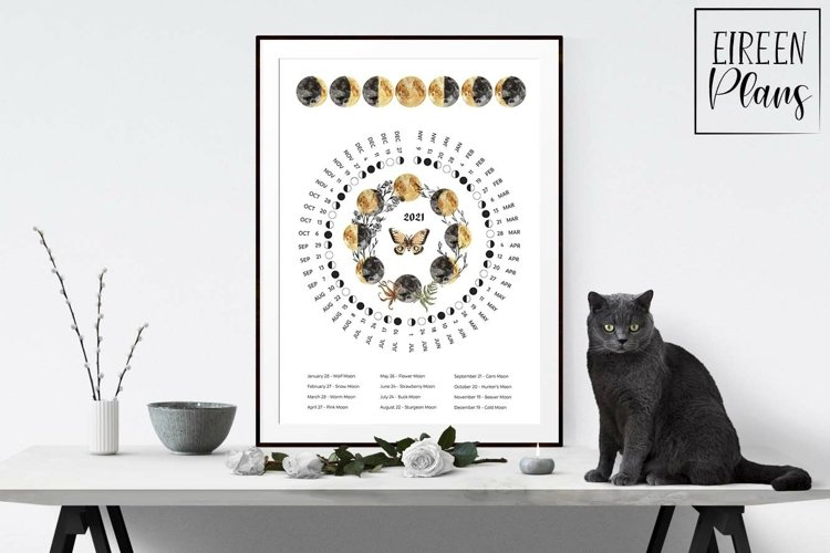 Printable 2021 Moon phases calendar with full moon names