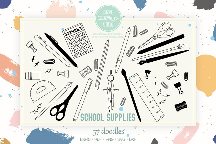 School Supplies | Hand Drawn Stationary, Office Doodles