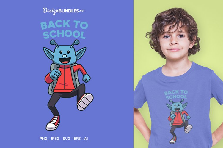 Alien back to School Vector Illustration For T-Shirt Design
