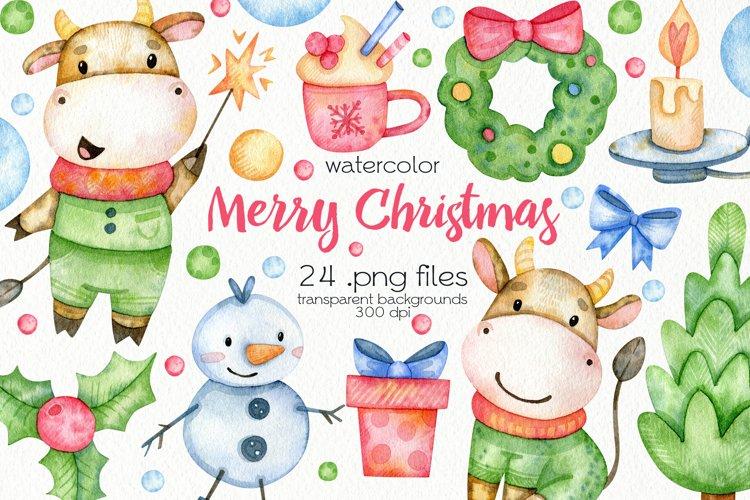 Watercolor Christmas Bulls Clipart - PNG Files example image 1