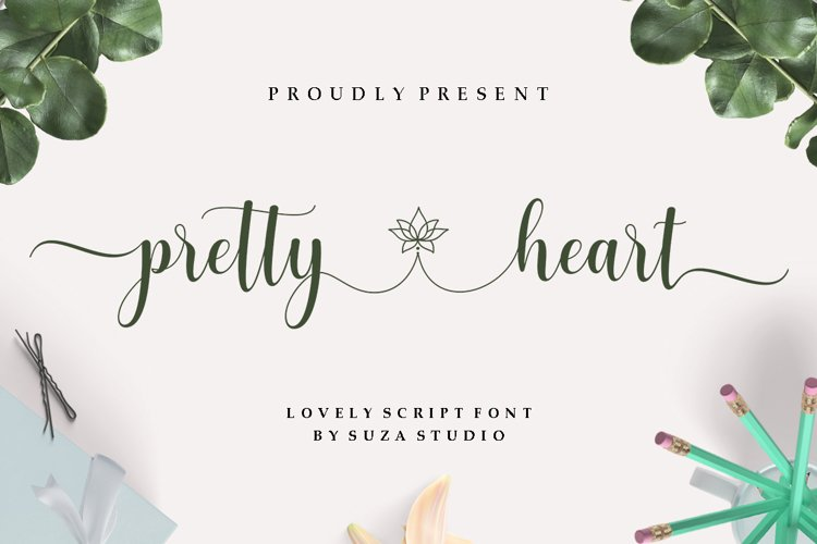 pretty heart - lovely script font example image 1