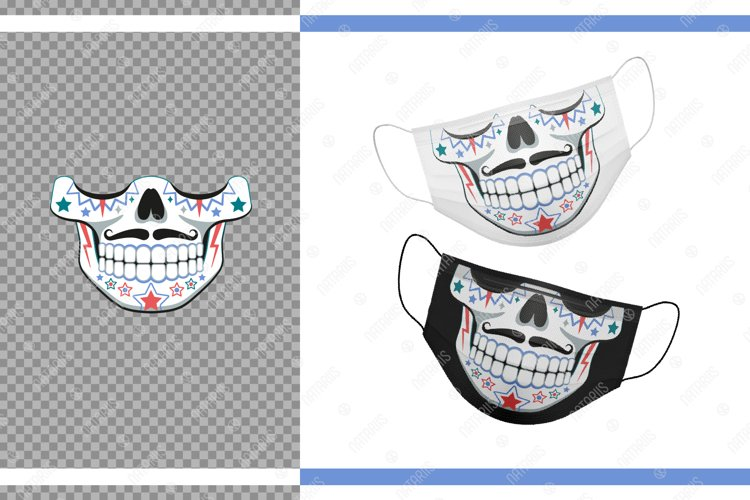 Funny Sugar skull design with a star pattern for face mask. example image 1