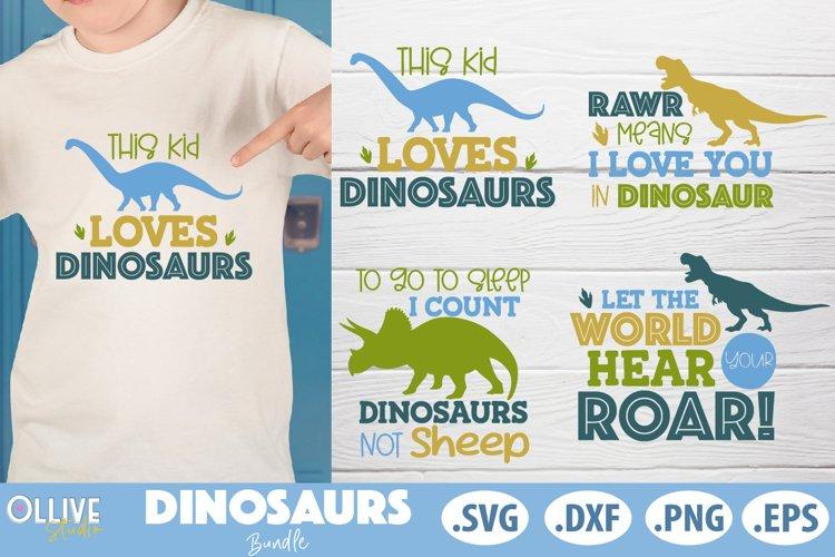 Dinosaurs Bundle, Dinosaur SVG DXF EPS PNG example image 1