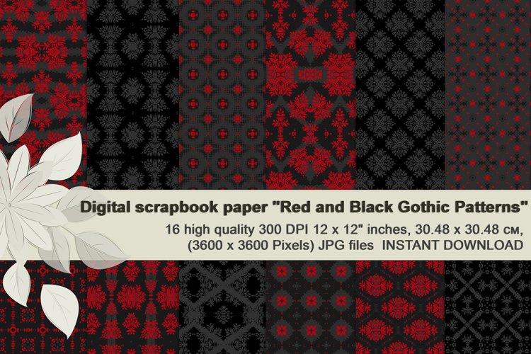 Red and Black Seamless Gothic Patterns, Dark Scrapbook Paper