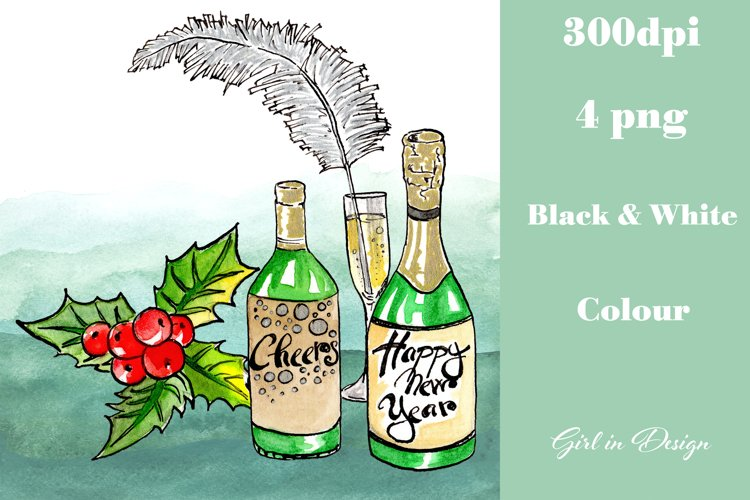 New Year Berries and Bottles of Alcohol Clipart example image 1