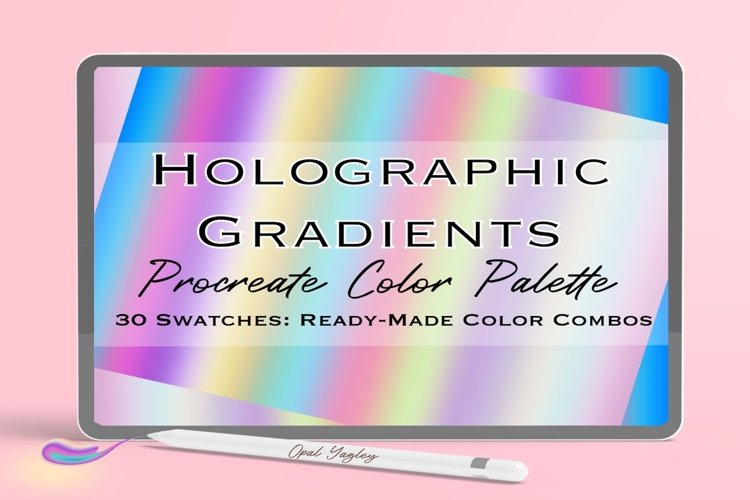 Holographic Procreate Color Palette with Color Guideline example image 1